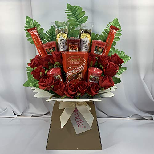 Large Yankee Candle Selection Bouquet Gift Hamper with Chocolates & Silk Red Roses in Presentation Box (Ferrero Rocher & Lindt Lindor)