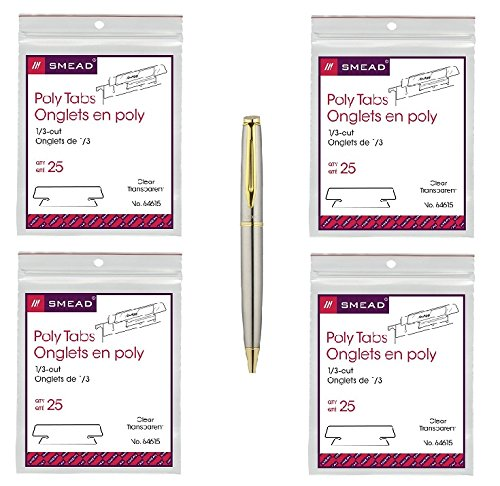 Smead Hanging File Tab/Insert, 1/3 Tab, 3 1/2 Inch, Clear Tab/White Insert, 25/Pack, 4 Packs Per Bundle - Bundle Includes Plexon Ballpoint Pen