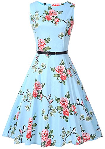 TINTAO Womens 1950s Vintage Audrey Sleeveless Floral Print Tea Party Dress with Belt D109 (Blue, M)