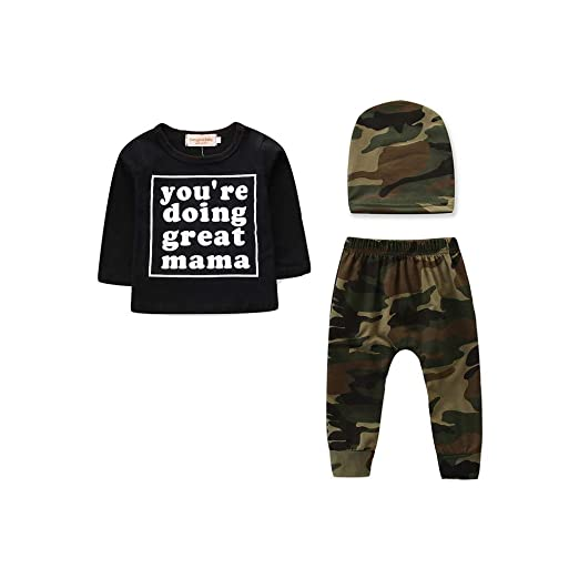 5df9b62f2705 Amazon.com  Kirbyates 3Pcs Infant Baby Boy Outfits Cartoon Letter Print  Clothes Set Long Sleeve Camouflage Pants Hat Suit  Clothing