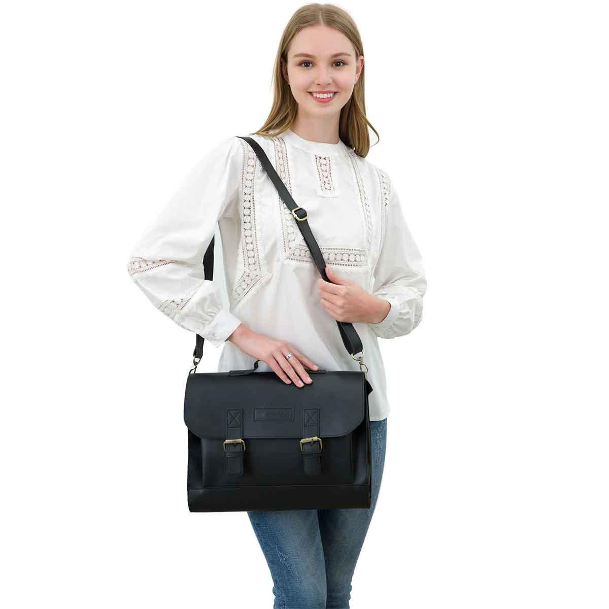 JAKAGO 14.6 Inch Vintage PU Leather Briefcase Laptop Shoulder Messenger Bag Tote School Distressed Bag for Women and Men by JAKAGO (Image #2)