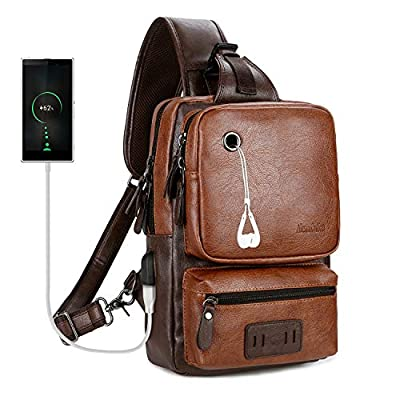 Large Capacity Crossbody Bag for Men Leather Sling Bag with USB Charge&Headphone Hole