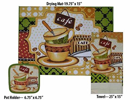 (GinsonWare Set 3, Kitchen Linen Value Pack. (Microfiber Dish Drying mat, Towel & Pot Holder) (Cafe))