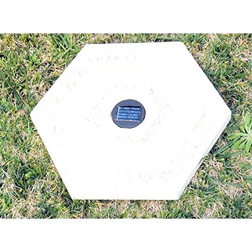 Homebrite Solar Power Hexagon White Wash Stepping Stones - Set of 3 (Stone Stepping Light Solar)