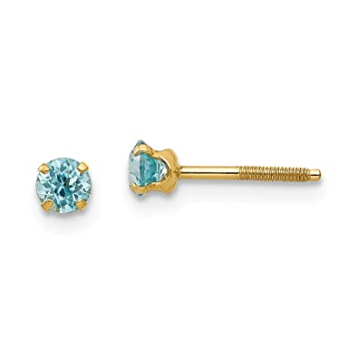 fc38bf244 Image Unavailable. Image not available for. Color: 14k Yellow Gold 3mm Blue  Zircon Earrings Birthstone December Stud Fine Jewelry ...
