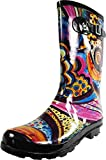 NORTY - Womens Hurricane Wellie Gloss Mid-Calf Monet Printed Rain Boot, Multi 39205-11B(M) US