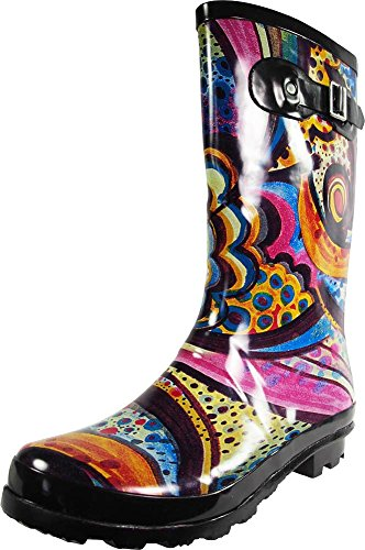 NORTY - Womens Hurricane Wellie Gloss Mid-Calf Monet Printed Rain Boot, Multi 39205-7B(M) -