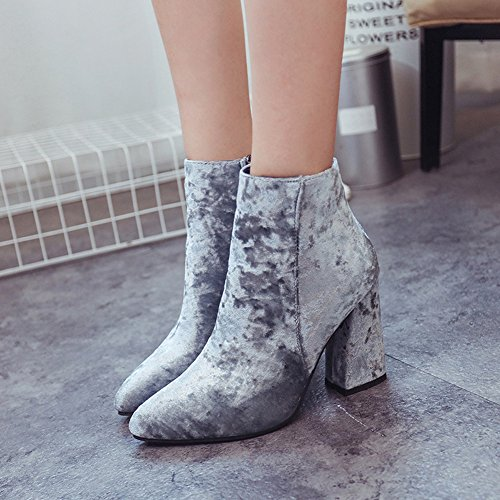 Ankle Suede Womens Wedding Shoes Casual Boots Ladies Chelsea High HONGANG Gray Party Faux Boots Heel Block aqtwdOx