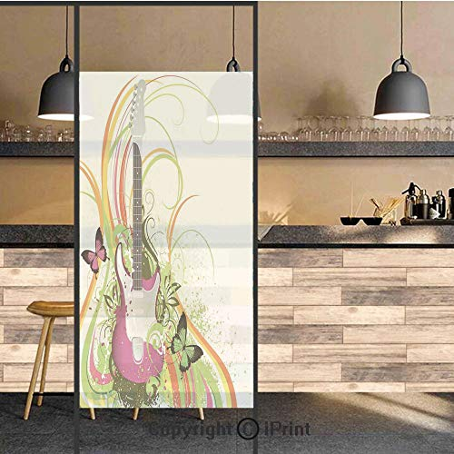 3D Decorative Privacy Window Films,Musical Composition with a Guitar Colorful Ornament Flourishes Plant Curl,No-Glue Self Static Cling Glass Film for Home Bedroom Bathroom Kitchen Office 24x48 -