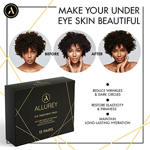 51OK7QECxML - ALLUREY 24K Gold Collagen Eye Mask, Best Eye Care, Anti-aging and Anti-wrinkle Effect, Moisturizes, Reduces Puffiness and Dark Circles, Under Eye Patches (15 Pairs)