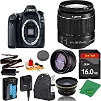 Great Value Bundle for 80D DSLR – 18-55mm STM + 16GB Memory + Wide Angle + Telephoto Lens + Backpack