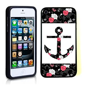 Iphone 5 5S Case Thinshell Case Protective Iphone 5 5S Case Shawnex Vintage Black Floral Anchor