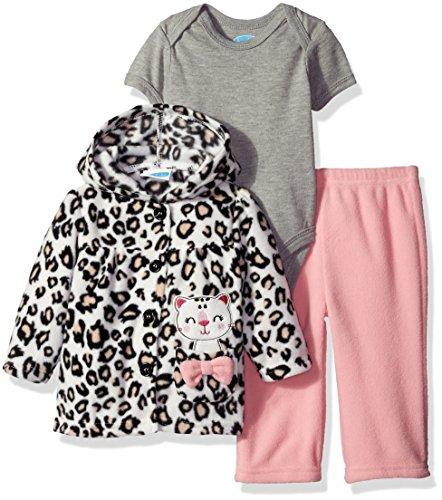 (Bon Bebe Baby Girls' 3 Piece Microfleece Jacket Set, Leopard Kitten 6-9 Months)