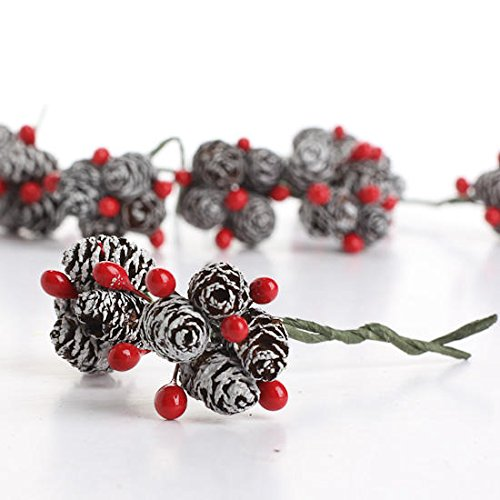 Package of 36 Miniature Wire Stemmed White Frosted Pinecone and Red Berry Embellishing Picks for Christmas and Holiday Decorating]()
