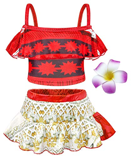 HenzWorld Girls Swimsuits Moana Princess Holiday Birthday Party Cosplay Bathing Flower Hairclip 3t 2-3 Years