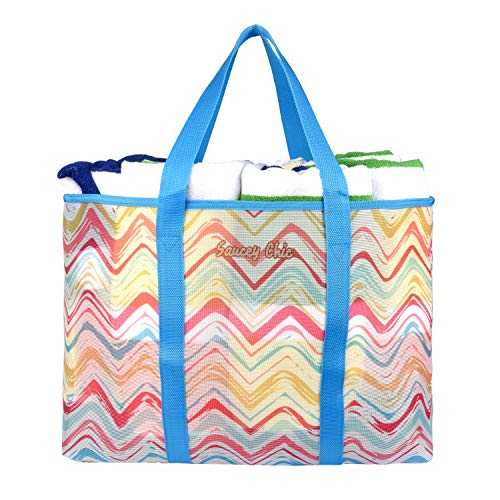 Saucey Chic Large Mesh Beach Bag Tote - Colorful Large Shoulder Bag, Perfect for Summer! (Blue)