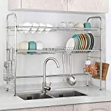 2 Tier Over the Sink Dish Drying Rack Stainless Steel Dish Dry Rack with Skidproof Rubber Feet for Kitchen Counter Adjustable Kitchenware Organizer Antirust and Space Saving Uensil Holder