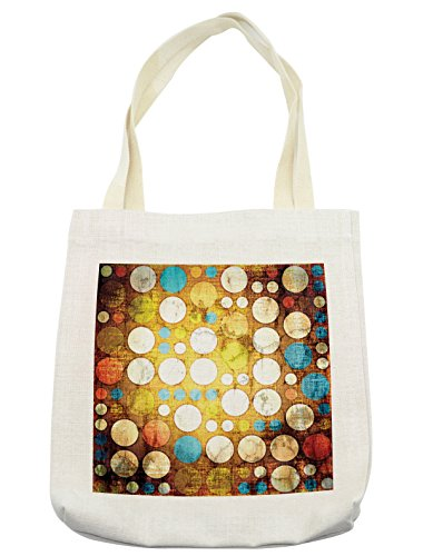 Lunarable Polka Dots Tote Bag, Vintage Polka Dots on Grunge Setting with Digital Elements Futuristic Print, Cloth Linen Reusable Bag for Shopping Groceries Books Beach Travel & More, (Futuristic Element Costumes)