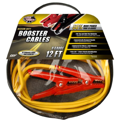 Coleman Cable 08467 Medium-Duty Booster Cables with Bag, 8-Gauge, 12-Foot