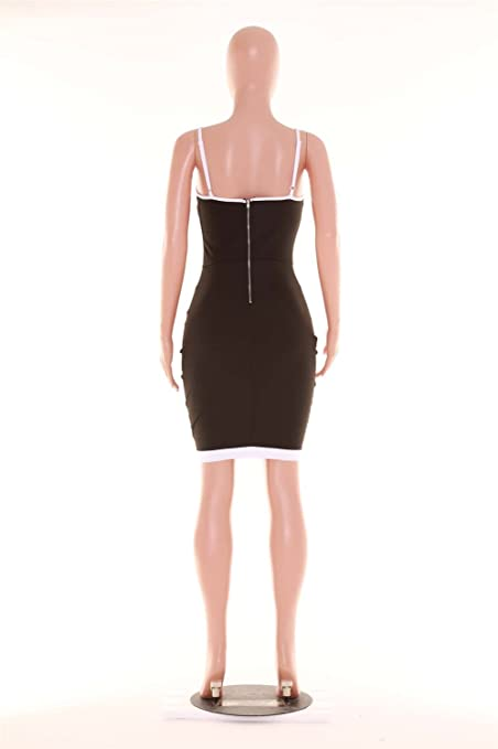 Sexy Sleeveless Spaghetti Strap Deep V Neck Contrast Piping Trim Mini Bodycon Dress Black White at Amazon Womens Clothing store: