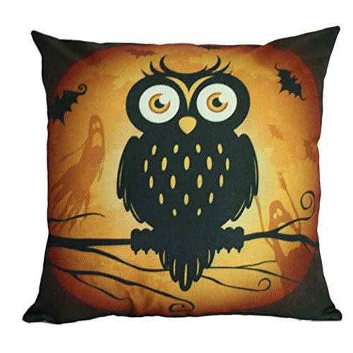 (Napoo Happy Halloween Pillow Cases, 2018 Cute Square Throw Linen Pillow Case Cushion Cover Burlap Home Sofa Decor Cat Pumpkin Owl Ghost Scarecrow (D))