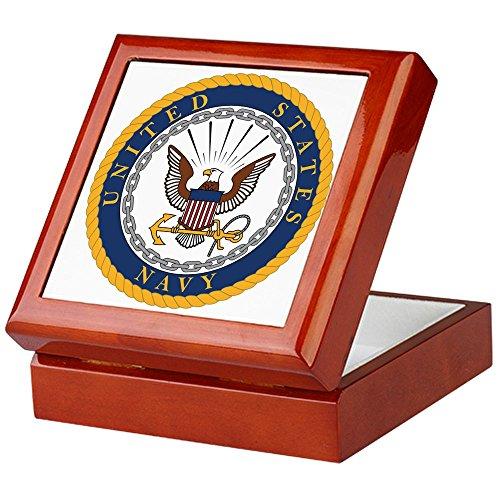 CafePress - Navy - Keepsake Box, Finished Hardwood Jewelry Box, Velvet Lined Memento Box