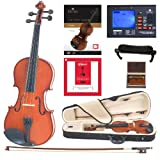 Cecilio CVN-100 Solidwood Student Violin with D'Addario Prelude Strings, Size 4/4 (Full Size)