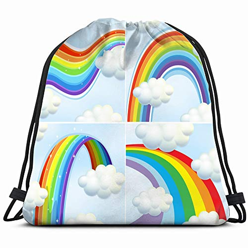 Four S Rainbow Sky Parks Outdoor Drawstring Backpack Bag For Kids Boys Girls Teens Birthday, Gift String Bag Gym Cinch Sack For School And Party