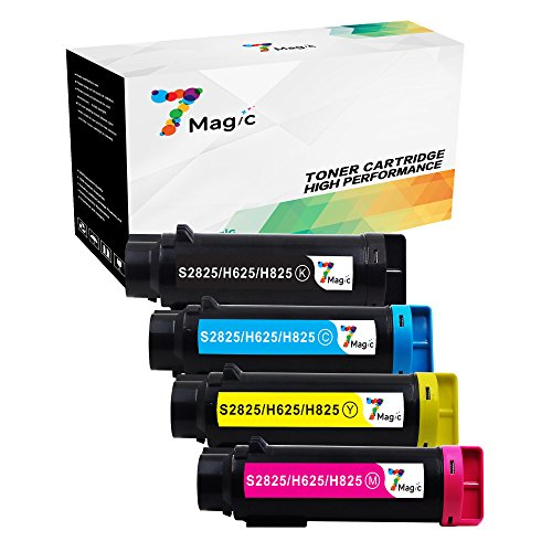 Pages New Compatible Toner Cartridge Replacement for Dell Laser Printer H625cdw, H825cdw, S2825cdn Printer (1Set - 1Black, 1Cyan, 1Yellow, 1Magenta) (000 Compatible Toner Cartridge)