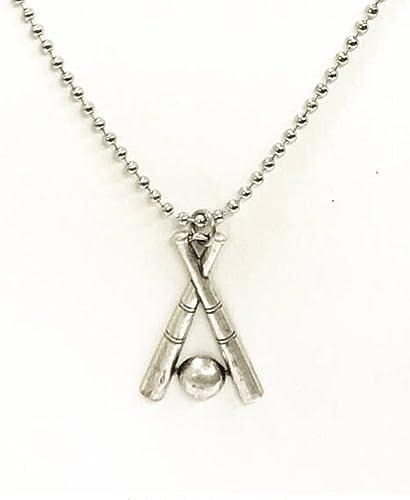 Baseball Necklace Crossed Baseball Bat Necklace