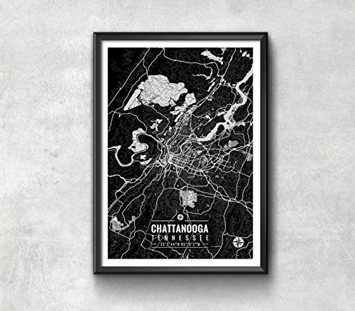 Chattanooga Tennessee Map with Coordinates, Chattanooga Map, Map Art, Map Print, Chattanooga Print, Chattanooga Gift, Chattanooga Wall Art, Chattanooga Map Art, Wall Art (Map Tennessee Chattanooga)