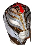WWE Licensed Rey Mysterio Adult Size Gold with Silver Trim Leather Pro Grade Mask
