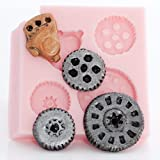 Small Steampunk Gear Mold Easy To Use Flexible Silicone Food Safe Fondant, Chocolate, Candy, Resin, Polymer Clay Mold. Flexible Mold Creates 4 Tiny Gears at Once.