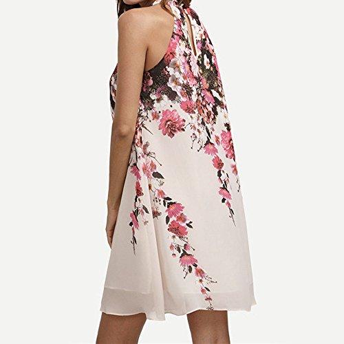 Culater® Été Femmes Floral col Rond Découpe Robe sans manches