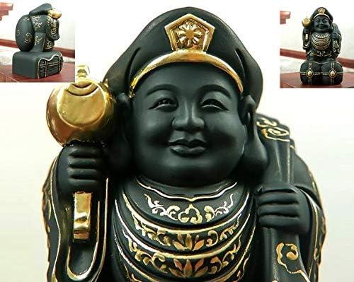 MD015大黒天仏教美術 ヒノキ製高級木彫り細密彫刻 木彫仏像 木造大黒天像インテリア 置物仕事`珍しいです品 コレクション。