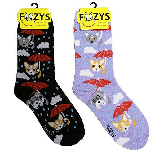 Foozys Women's Crew Socks | Raining Cats & Dogs Farm Novelty Socks | 2 Pair ()