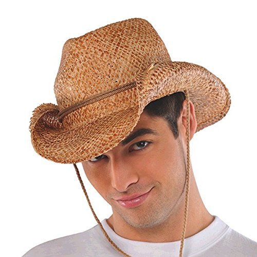 AMSCAN Straw Cowboy Hat Halloween Costume Accessories for Adults, One Size, 12