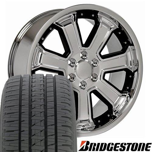 (OE Wheels 22 Inch Fit Chevy Silverado Tahoe GMC Sierra Yukon Cadillac Escalade CV93 Deep Dish Chrome w/Black 22x9.5 Rims Bridgestone Dueler Alenza HL Tires Hollander 5661)