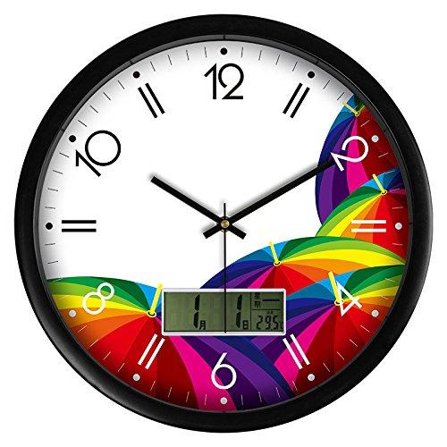 Maivasyy Diámetro de 14 pulgadas (35,5 cm) Calendario LCD Reloj de ...