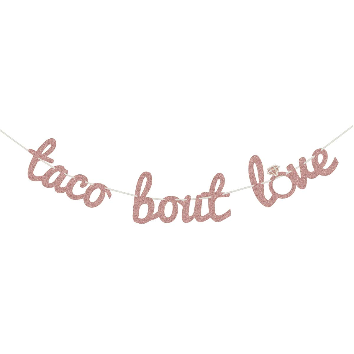 Finseng Rose Gold Glitter Taco Bout Love Banner Sign Garland for Mexican Fiesta Themed Bridal Shower Bachelorette Party Wedding Decorations