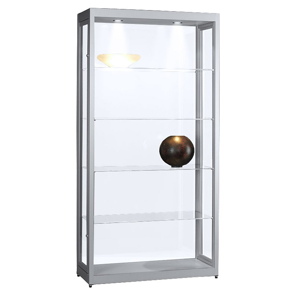 vitrine glasvitrine standvitrine sammlervitrine basic 1000 alu glas beleuchtet abschlie bar. Black Bedroom Furniture Sets. Home Design Ideas