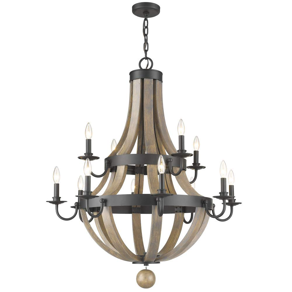 Sirét lighting st1133 aw hamilton 12 light antique wood matte black metal chandelier amazon com