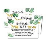 25 Safari Books for Baby Request Insert Card for Boy or Girl Baby Shower Invitations or invites, Cute Bring A Book Instead of A Card Theme for Gender Reveal Party Story Games, Jungle Animals