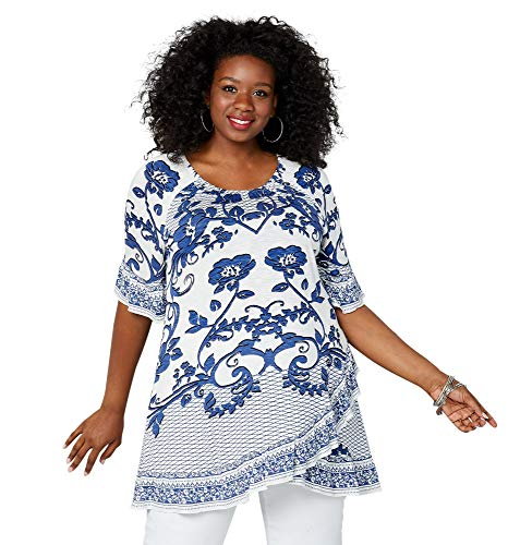 Avenue Women's Scrolling Floral Crossover Top, 18/20 Blue Print
