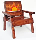 Kids Wooden Chair with Arms, Toddler+ Boy / Girl, Engraved and Painted Folk Art Sun