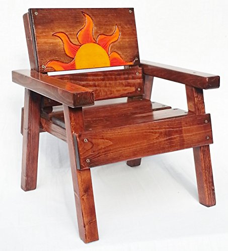 Kids Wooden Chair with Arms, Toddler+ Boy / Girl, Engraved and Painted Folk Art Sun by Happy Chairs and More