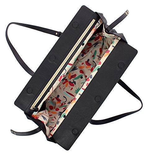 à Élégant ajustables DUDU bandoulière fermeture poignées cuir grande Sac souple et en magnétique femme avec capacité Noir pour AqxvFqw