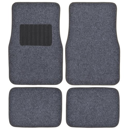 (BDK MotorTrend Premium Thick Plush Carpet Car Ridged Floor Mats (0.3 Carpet Ounce) - Dark Gray)