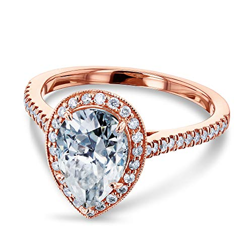 (Pear Shape Moissanite and Diamond Halo Engagement Ring 2 1/2 CTW in 14k Rose Gold)
