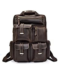 Mens Backpack Full Graine Italian Leather satchel for iPad Pro,14 Laptop, Schoolbag Daypack for Travel School...